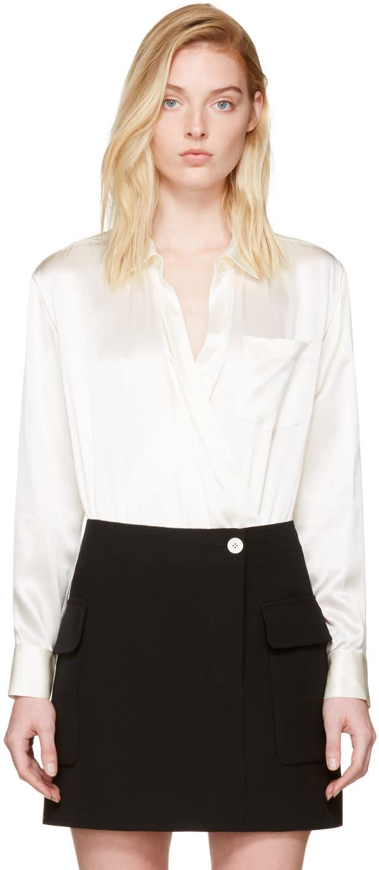 T By Alexander Wang Ivory Silk Wrap Shirt Bodysuit