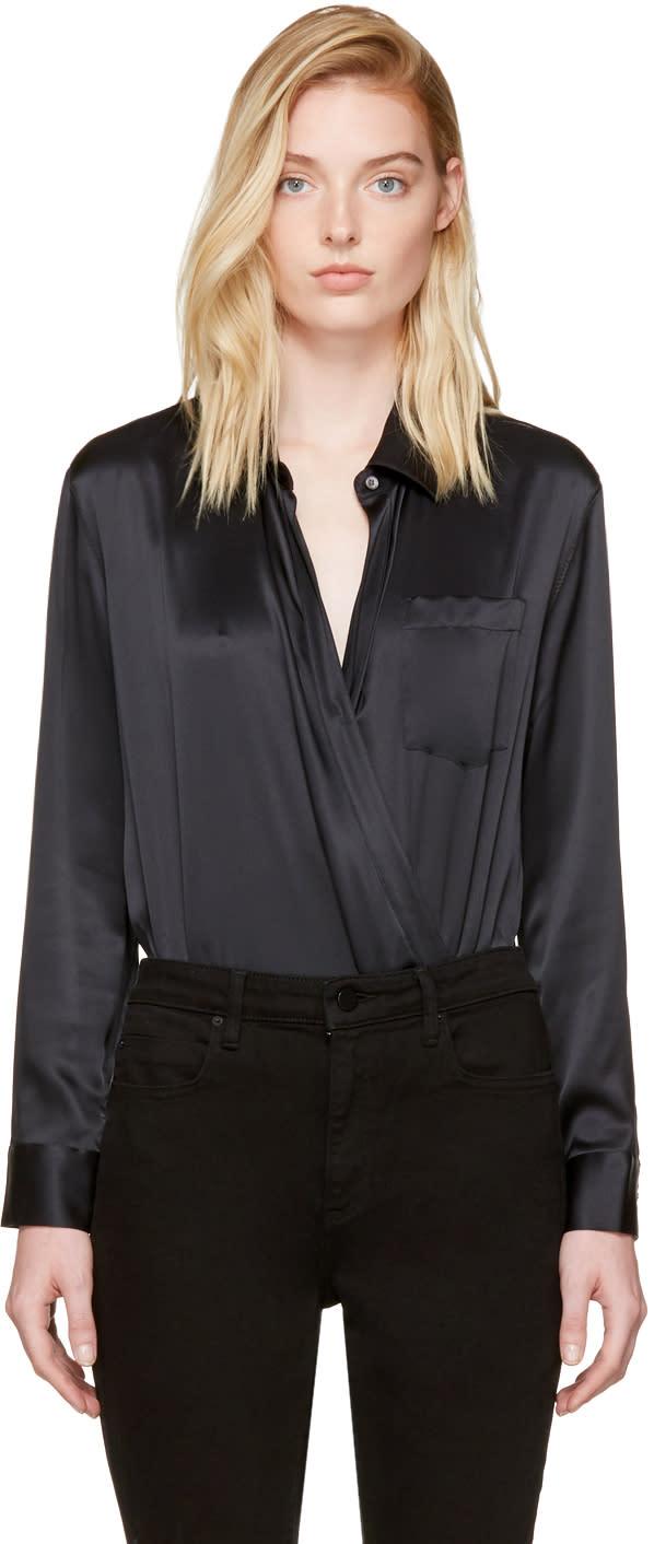 T By Alexander Wang Black Silk Wrap Shirt Bodysuit