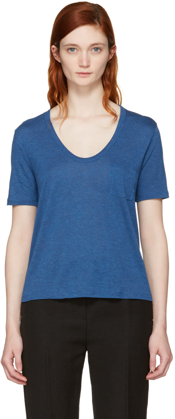 T By Alexander Wang Blue Classic Cropped Pocket T-shirt