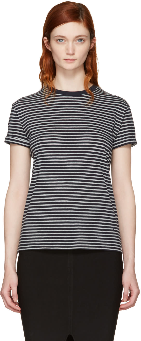 T By Alexander Wang Navy and Grey Striped Crewneck T-shirt