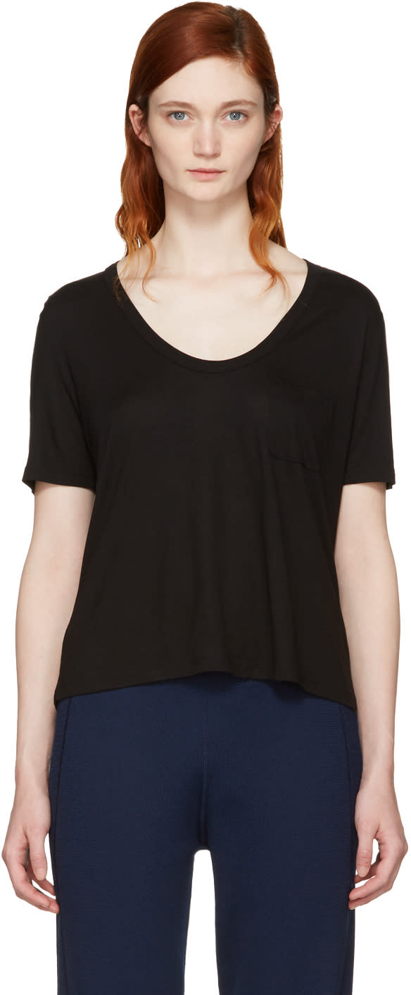 Image of T By Alexander Wang Black Classic Cropped Pocket T-shirt