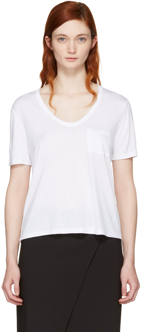 T By Alexander Wang White Classic Cropped Pocket T-shirt