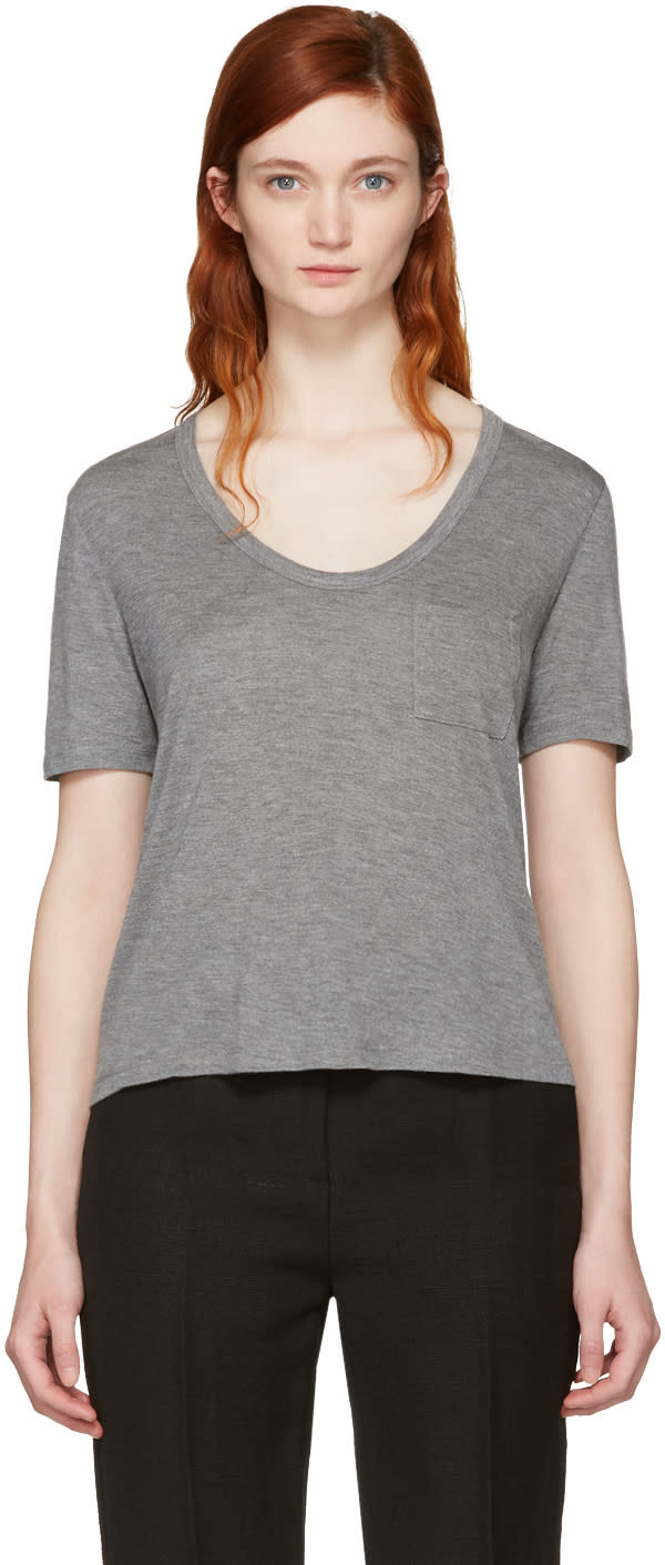 T By Alexander Wang Grey Classic Cropped Pocket T-shirt