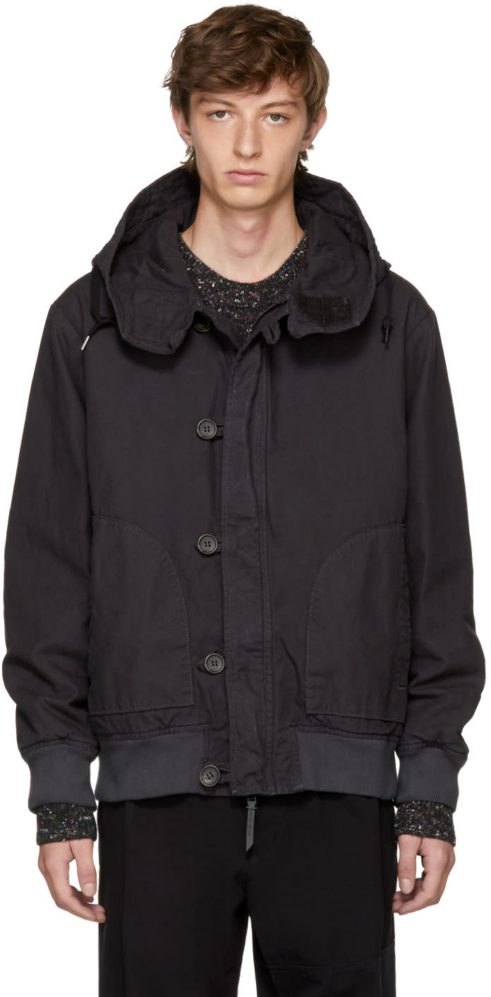Image of Robert Geller Black Dyed Hooded Bomber Jacket