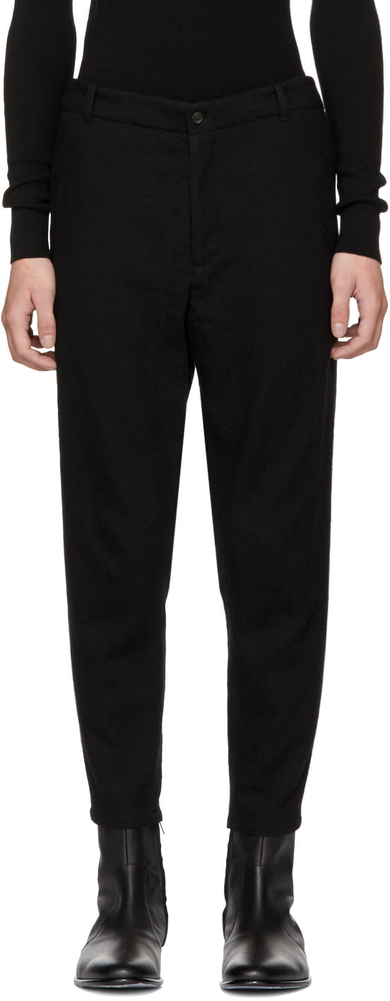 Image of Robert Geller Black Brushed Wool Trousers
