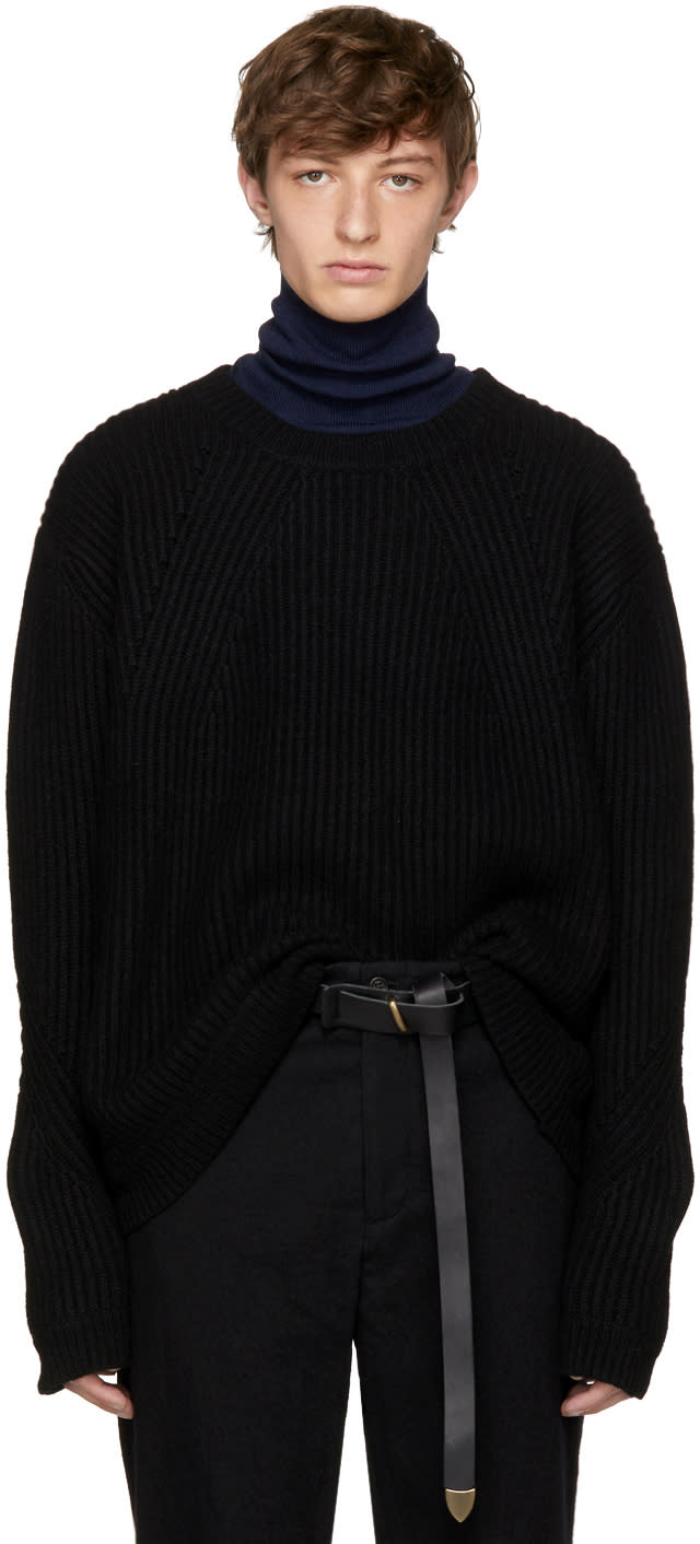Image of Robert Geller Black Lieutenant Sweater
