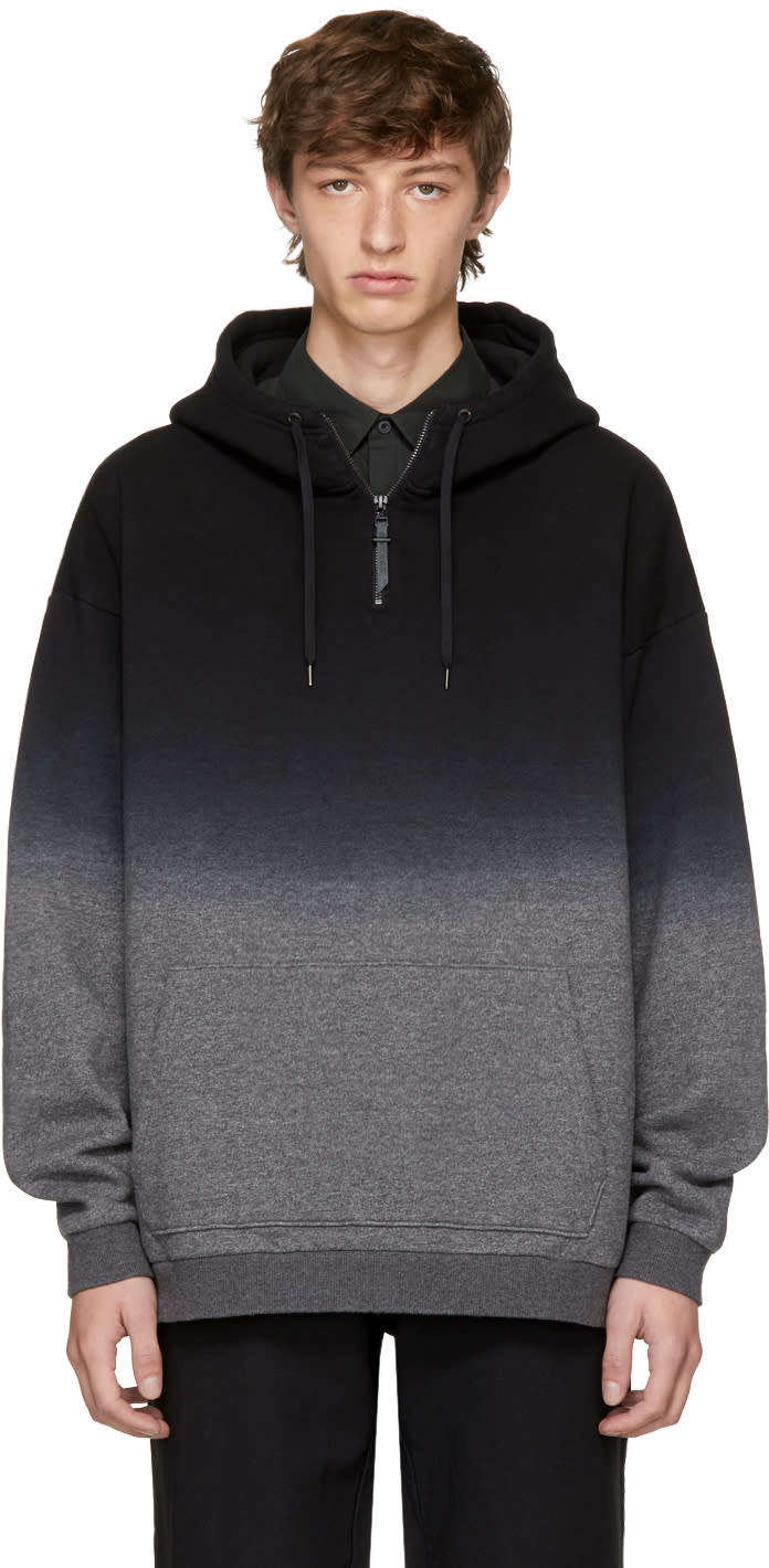 Image of Robert Geller Black and Grey Dip-dyed Hoodie