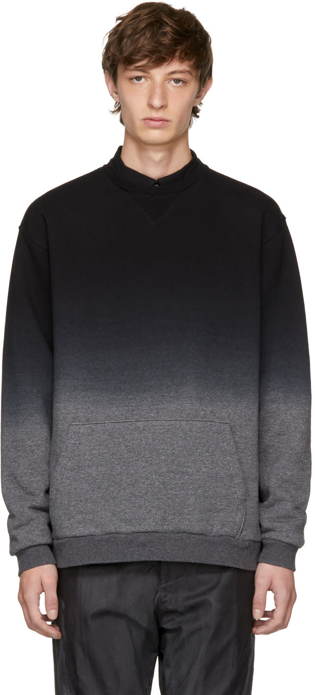 Image of Robert Geller Black and Grey Dip-dyed Sweatshirt