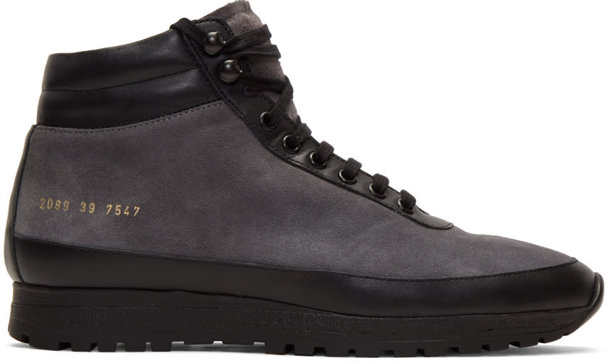 Image of Robert Geller Black Common Projects Edition Suede Trekking High-top Sneakers