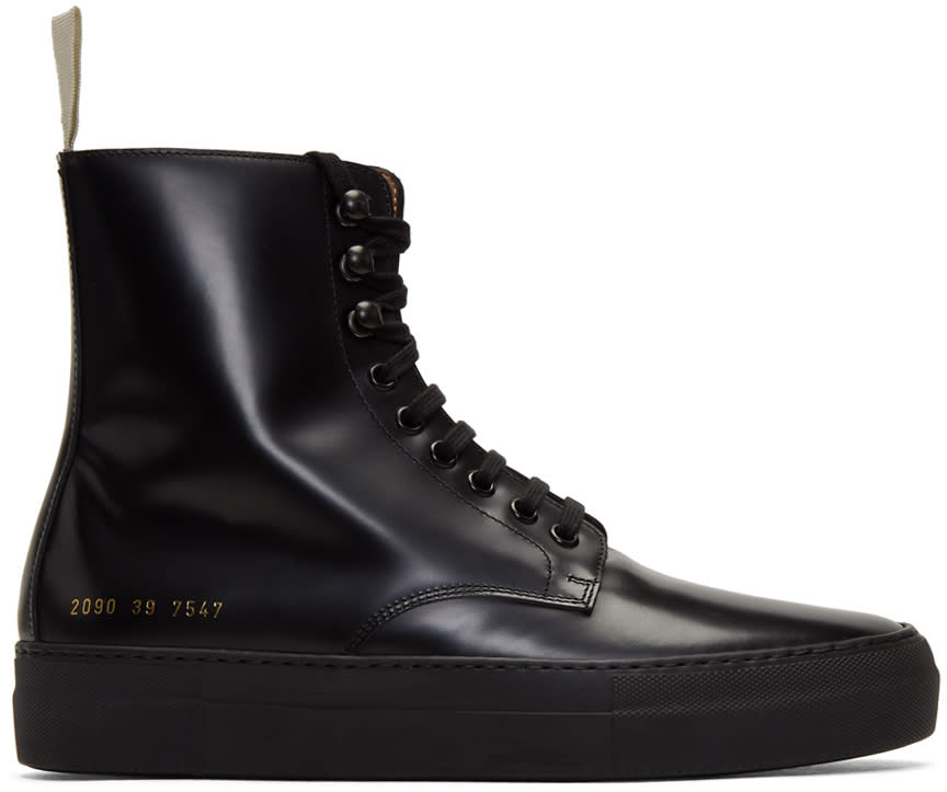 Image of Robert Geller Black Common Projects Edition Combat Boots