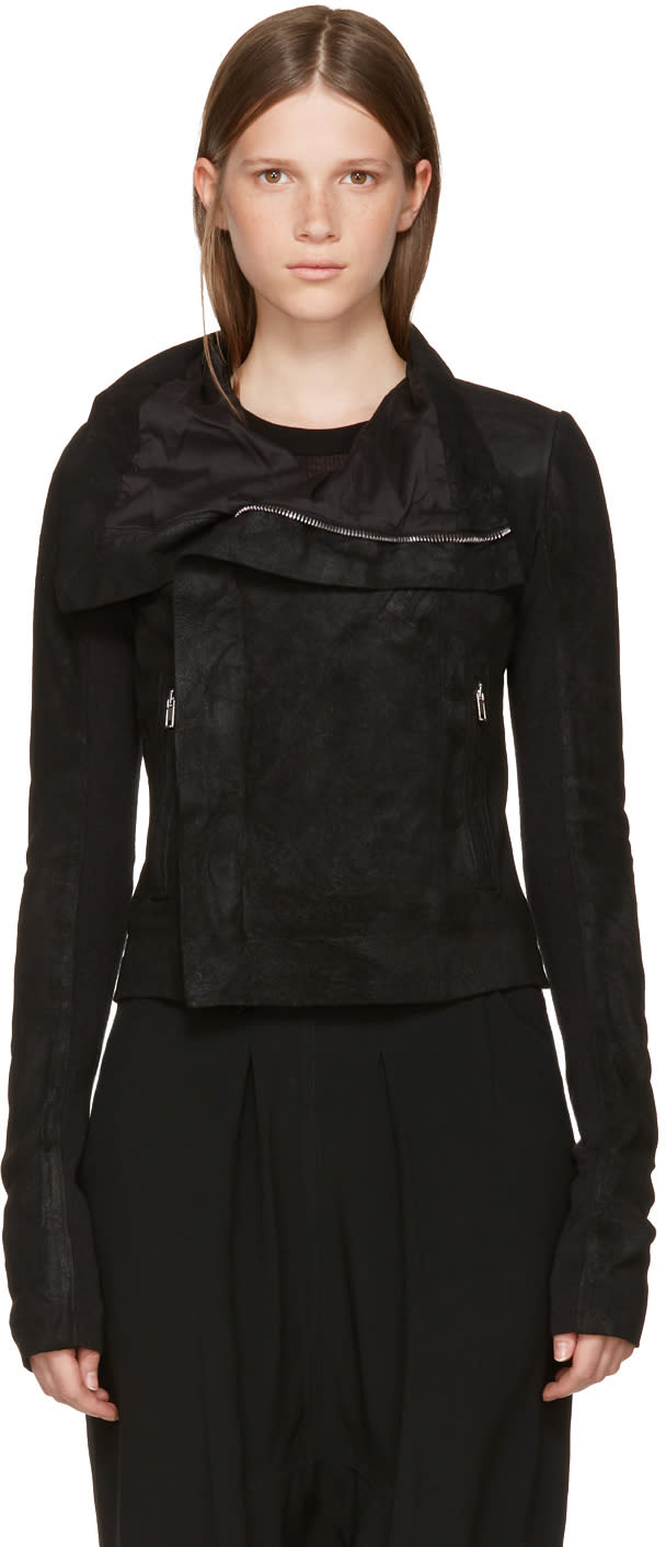 Rick Owens Black Leather Classic Biker Jacket