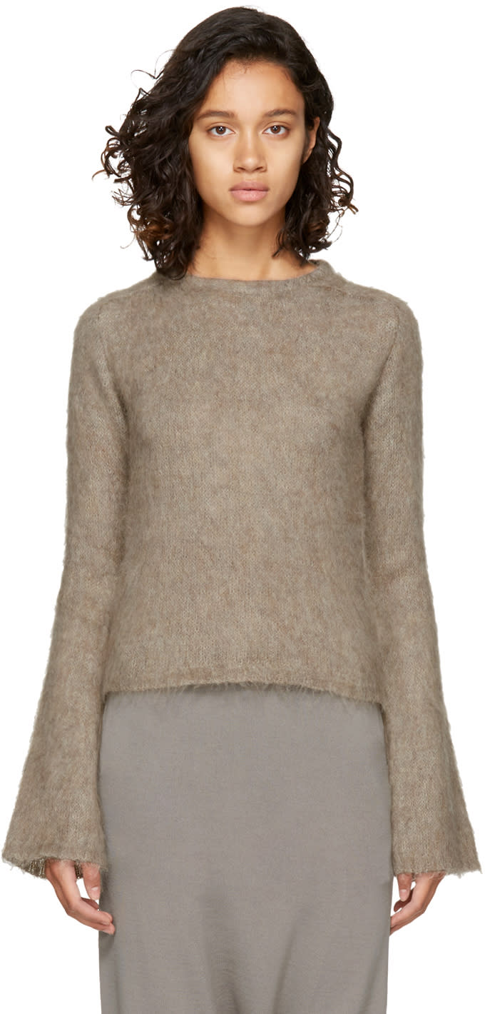 Image of Rick Owens Beige Mohair Sweater