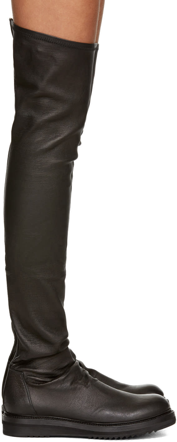 Rick Owens Black Creeper Over-the-knee Boots