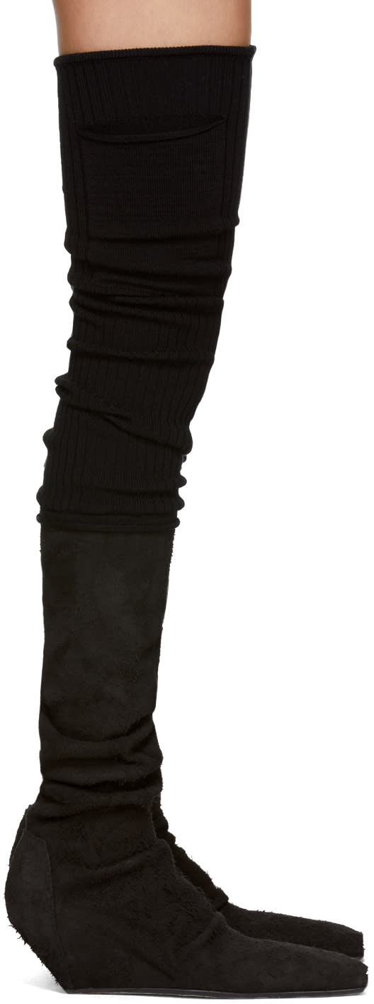 Rick Owens Black Sock Stretch Over-the-knee Boots