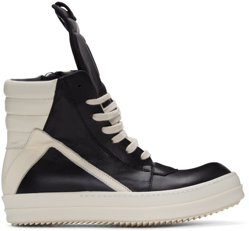 Image of Rick Owens Black and Off-white Geobasket High-top Sneakers