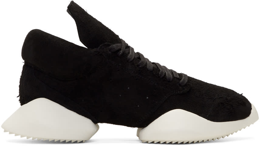 Image of Rick Owens Black and White Adidas Edition Viscous Runner Sneakers