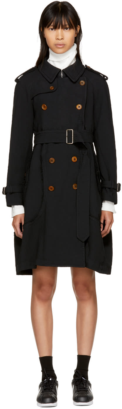 Image of Comme Des Garçons Black Crinkled Double-breasted Trench Coat