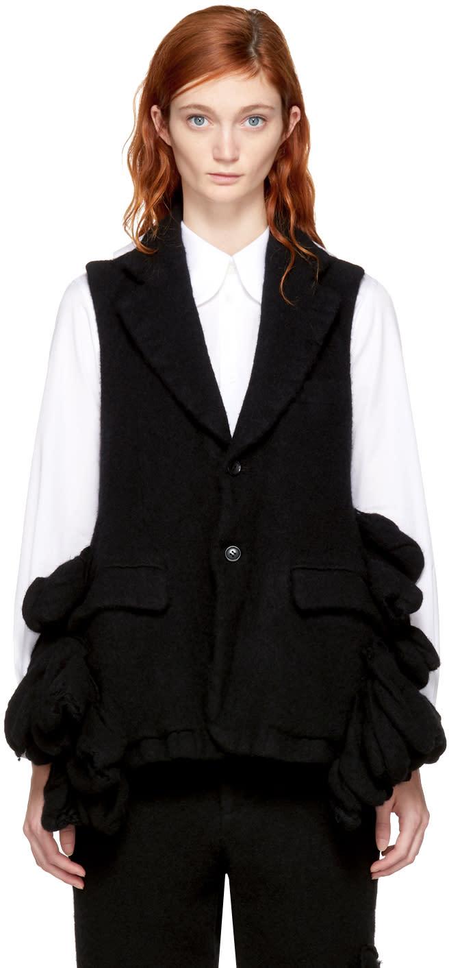 Comme Des Gar�ons Black Wool Bulbous Attachments Vest