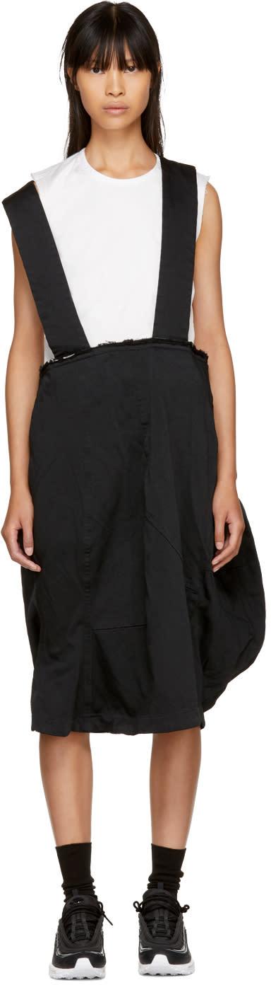 Image of Comme Des Garçons Black Crinkled Suspender Skirt