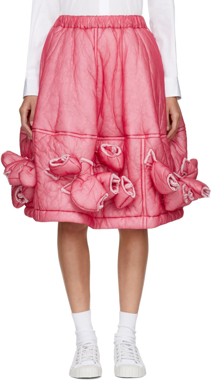 Comme Des Garçons Red Padded Nylon Skirt