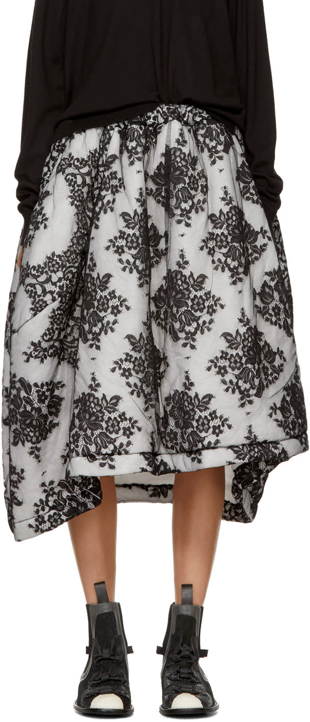 Image of Comme Des Garçons Black and Off-white Quilted Lace Skirt