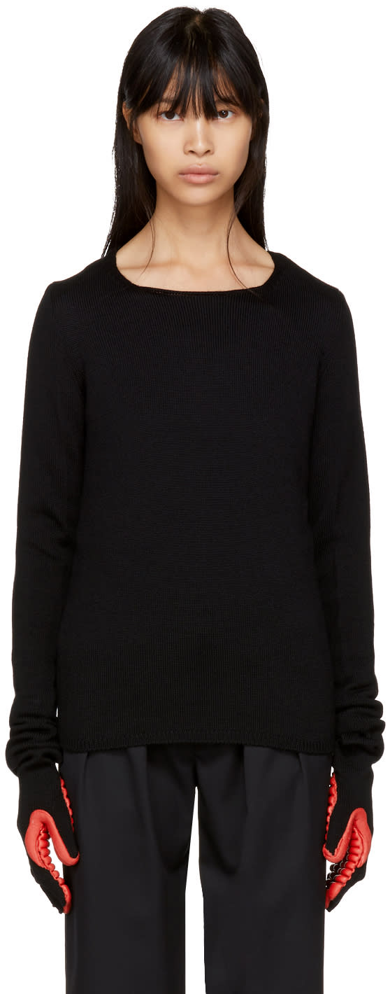 Image of Comme Des Garçons Black and Red Rubber Glove Sleeve Sweater