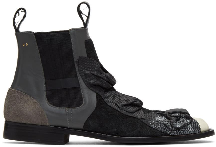 Image of Comme Des Garçons Black Bows Chelsea Boots