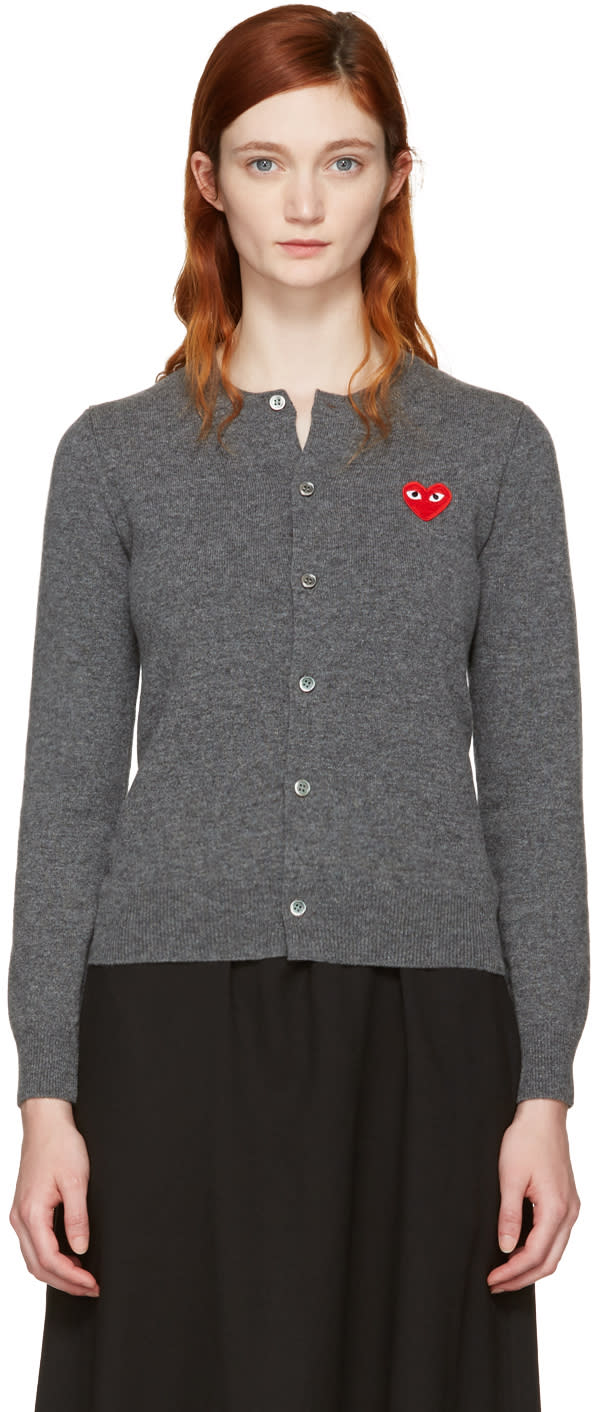 Comme Des Garcons Play Grey and Red Heart Patch Cardigan