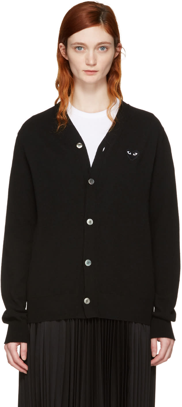 Comme Des Garcons Play Black Heart Patch Cardigan