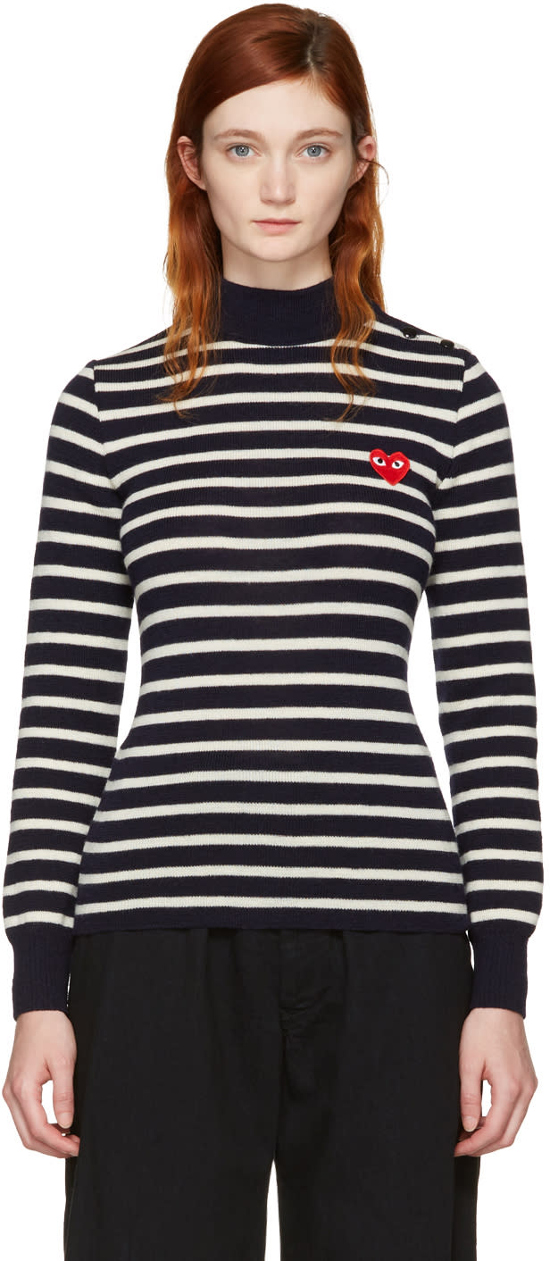 Comme Des Garcons Play Navy Striped Heart Patch Turtleneck
