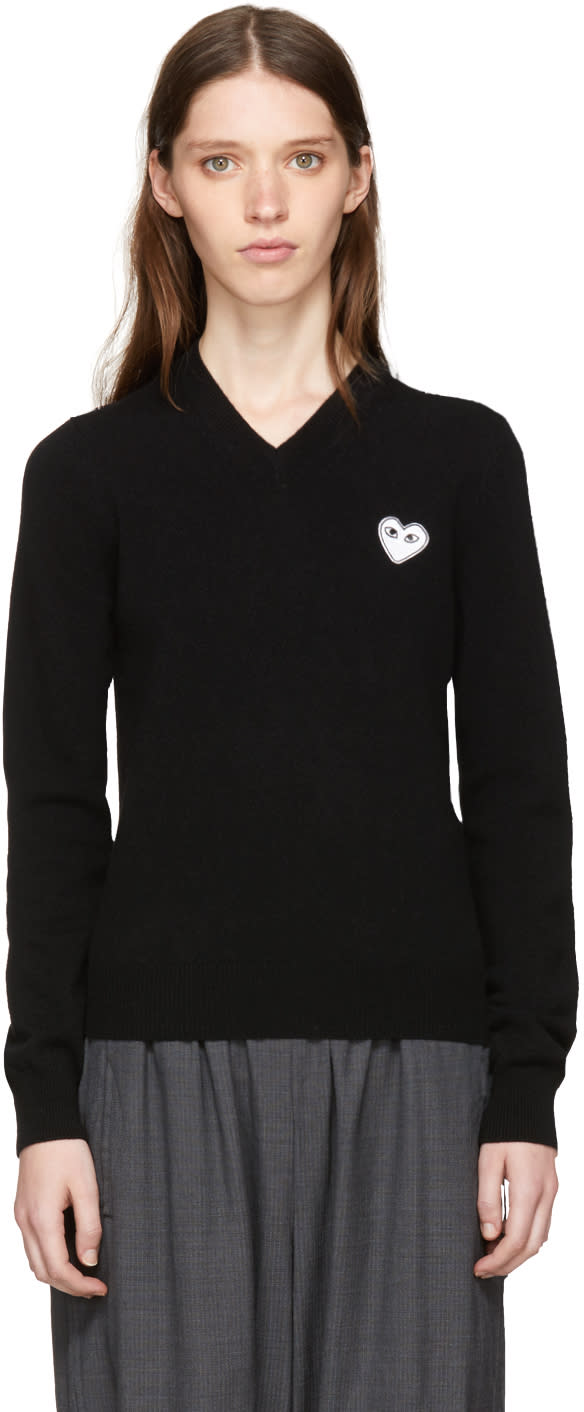 Image of Comme Des Garçons Play Black and White Heart Patch V-neck Sweater