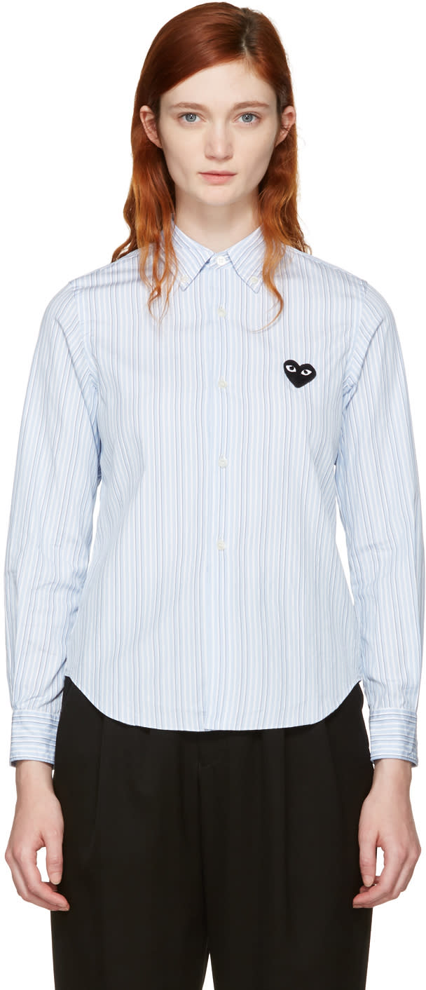 Comme Des Garcons Play Blue Striped Heart Patch Shirt
