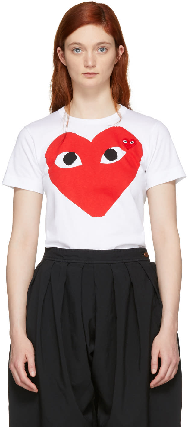 Comme Des Garcons Play White Double Large Heart T-shirt