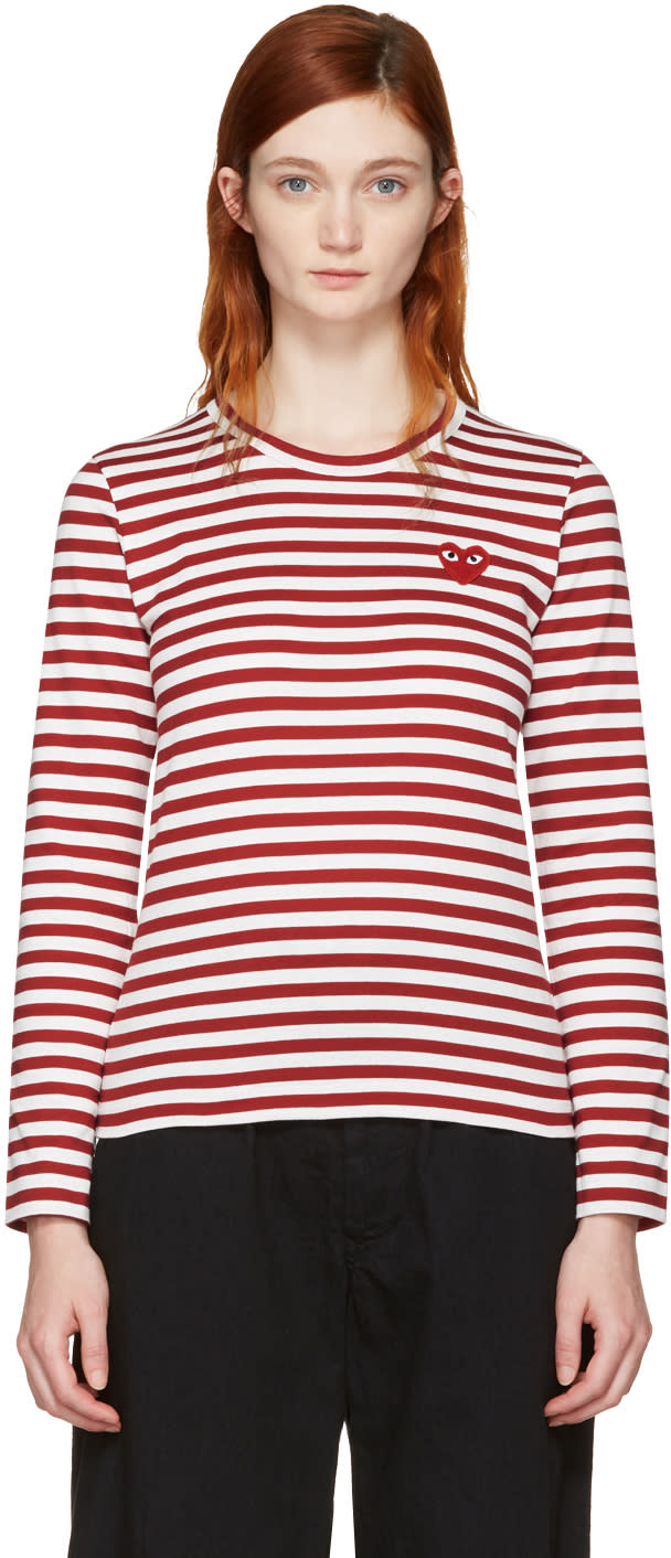 Comme Des Garcons Play Red Long Sleeve Striped Heart Patch T-shirt