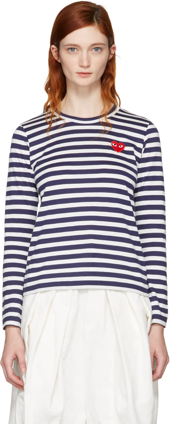 Comme Des Garcons Play Navy Long Sleeve Striped Heart Patch T-shirt