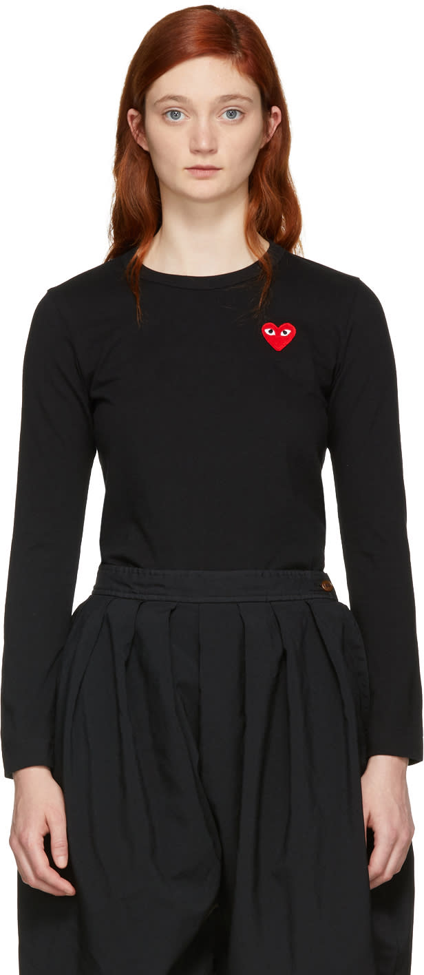 Comme Des Garcons Play Black Long Sleeve Heart Patch T-shirt