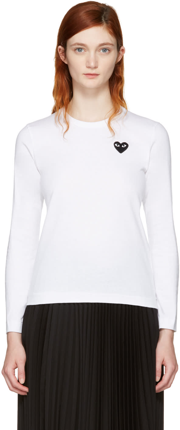 Comme Des Garcons Play White Long Sleeve Heart Patch T-shirt