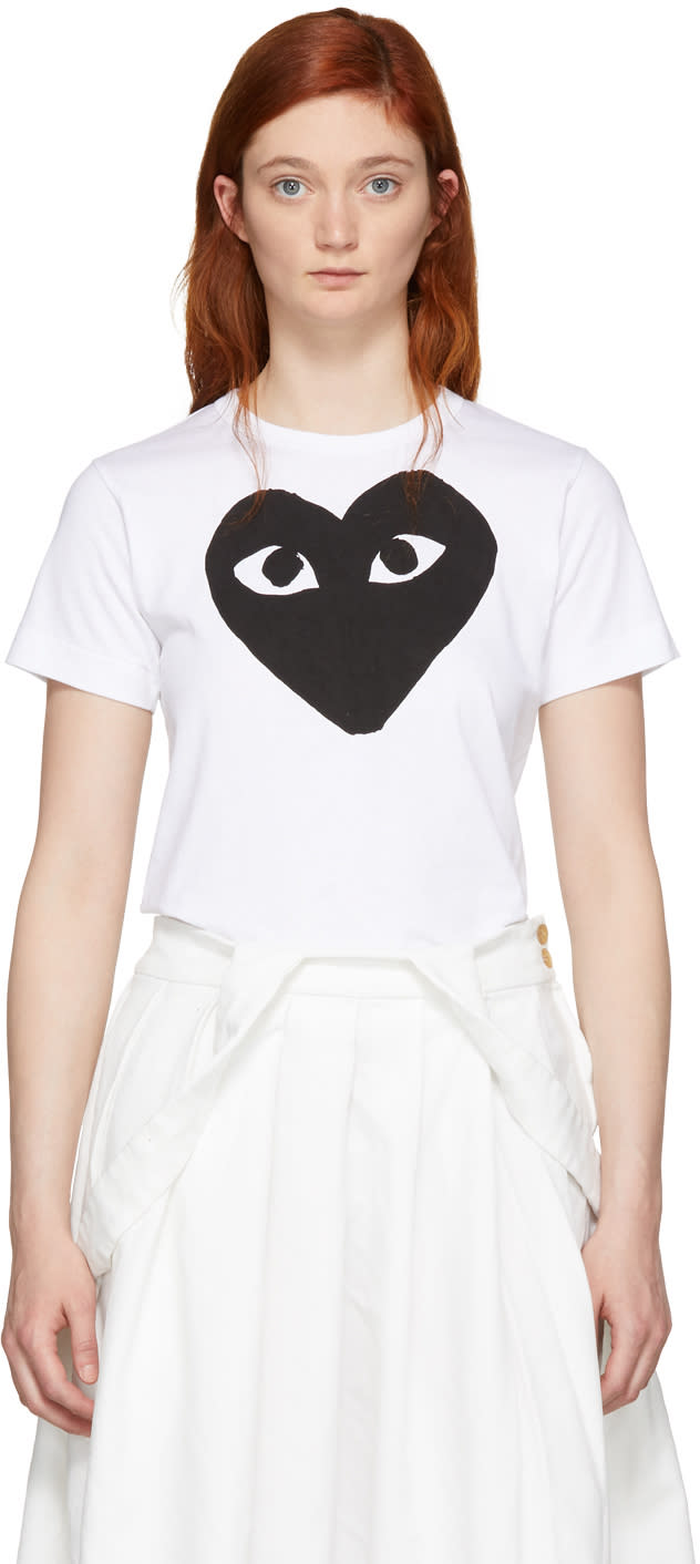 Comme Des Garcons Play White and Black Heart T-shirt