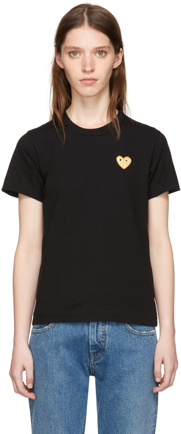 Image of Comme Des Garçons Play Black and Gold Heart Patch T-shirt