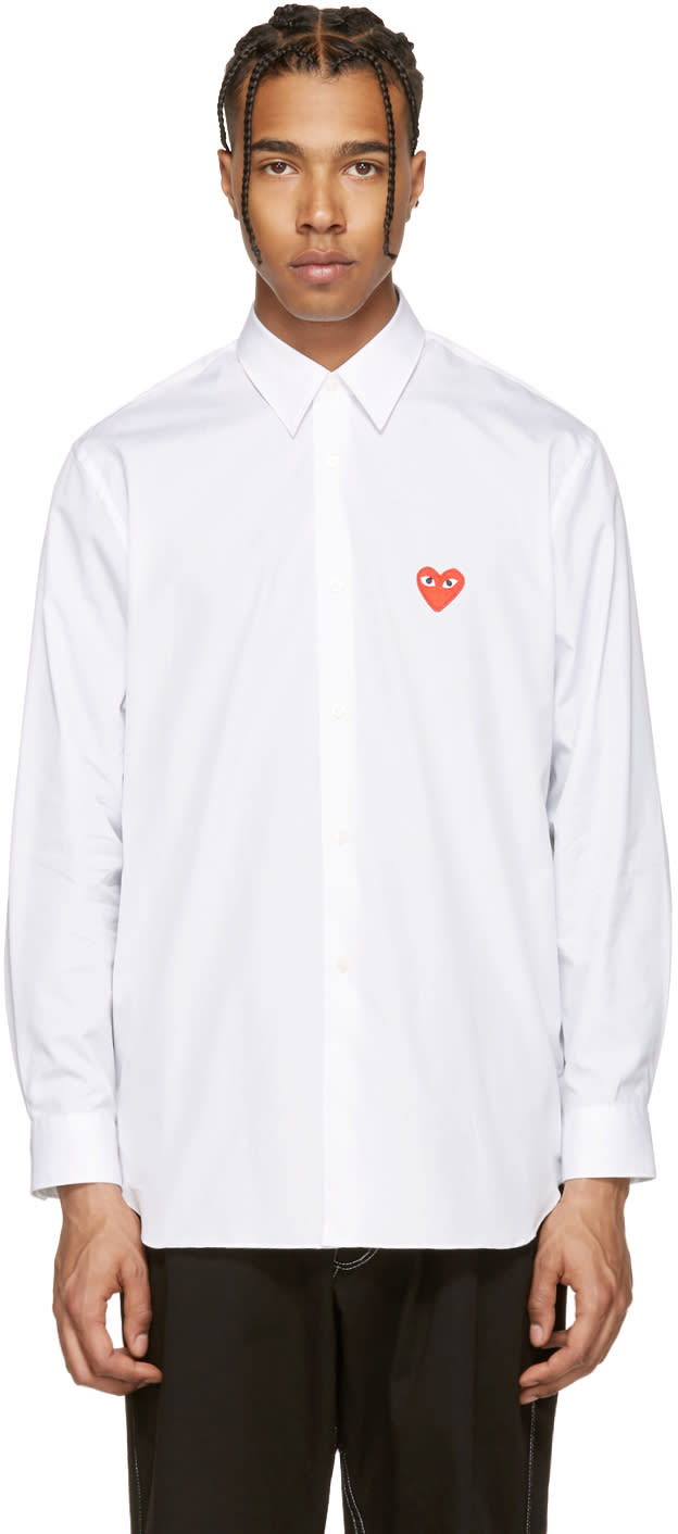 Comme Des Garcons Play White Heart Patch Shirt