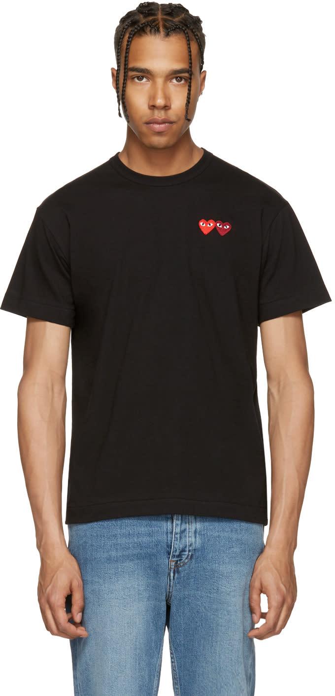 Image of Comme Des Garçons Play Black Double Heart T-shirt