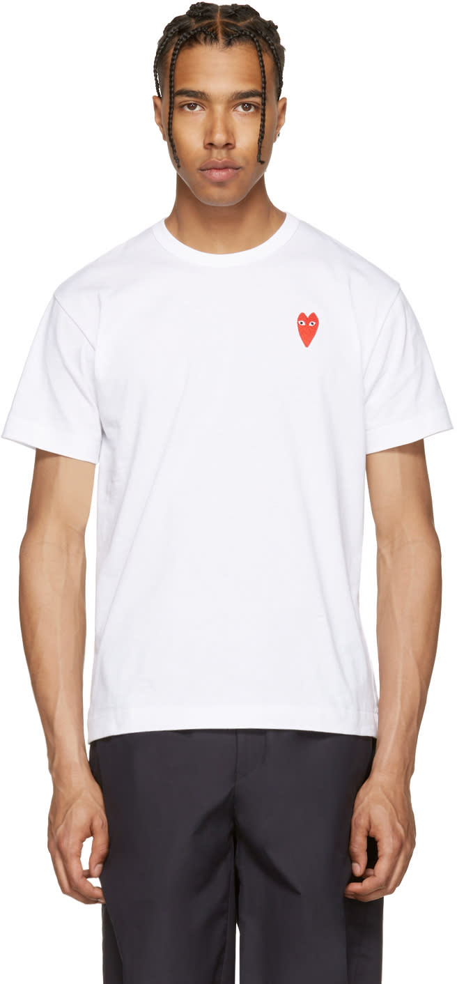 Comme Des Garcons Play White Long Heart T-shirt