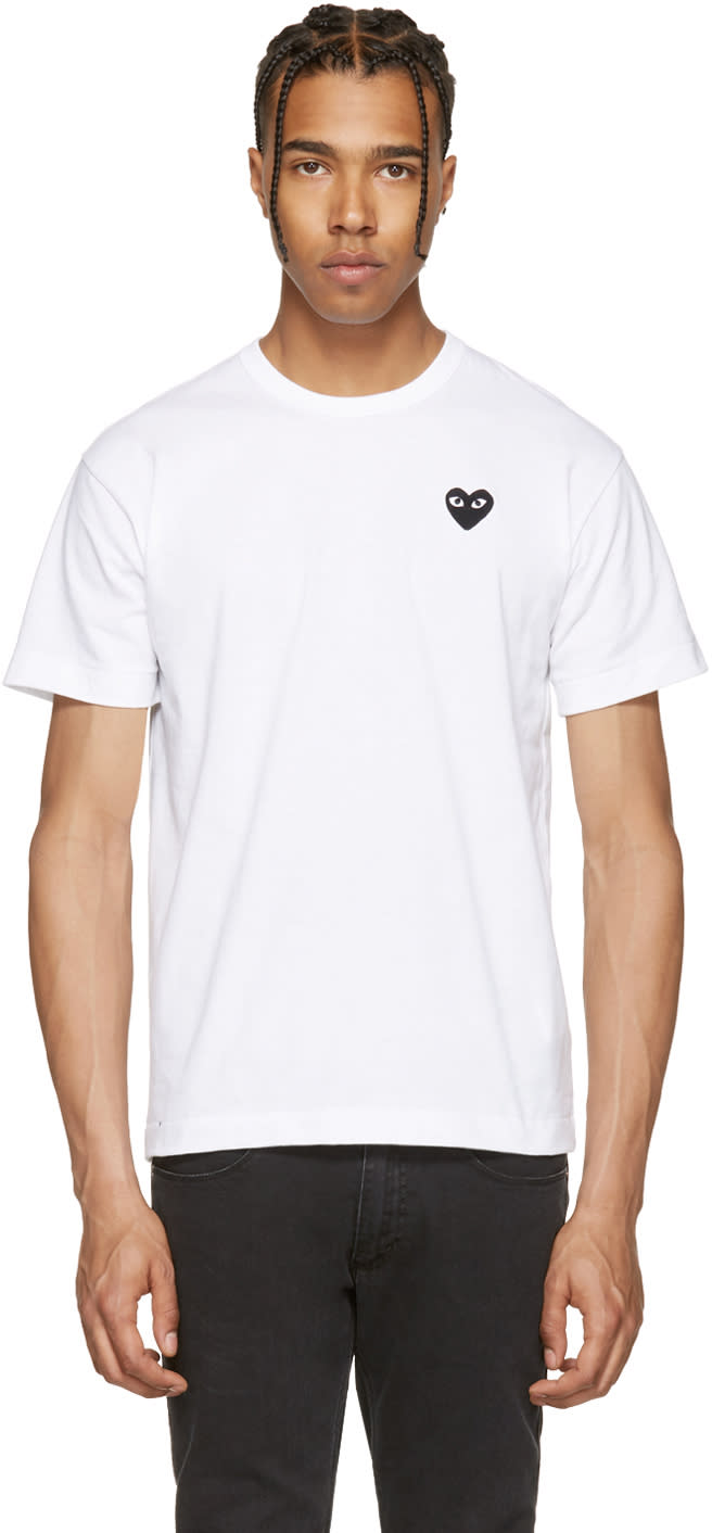 Comme Des Garcons Play White and Black Heart Patch T-shirt