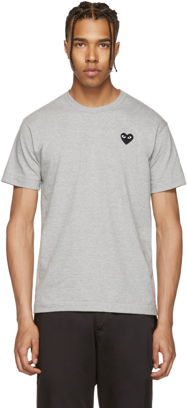 Comme Des Garcons Play Grey and Black Heart Patch T-shirt