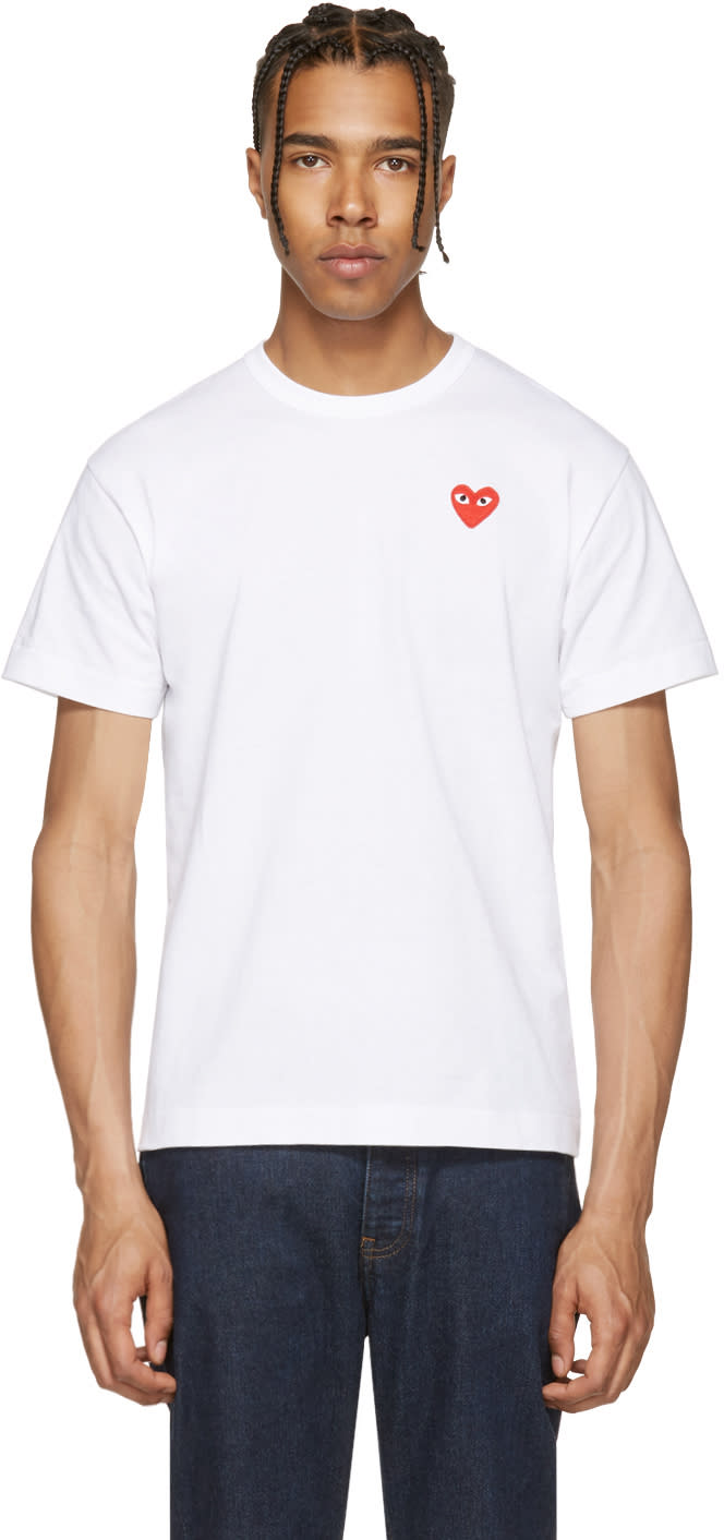 Comme Des Garcons Play White and Red Heart Patch T-shirt