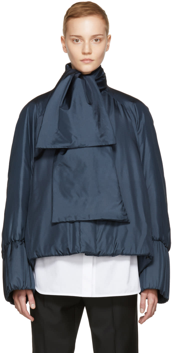 Jil Sander Navy Silk Down Developer Jacket