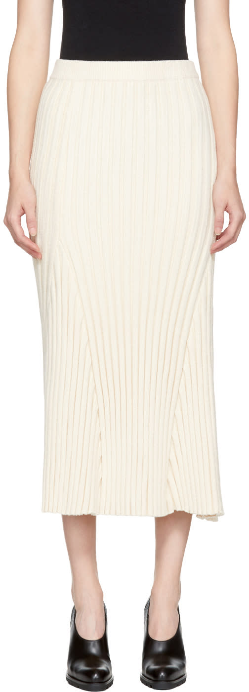 Jil Sander Off-white Long Ribbed Skirt