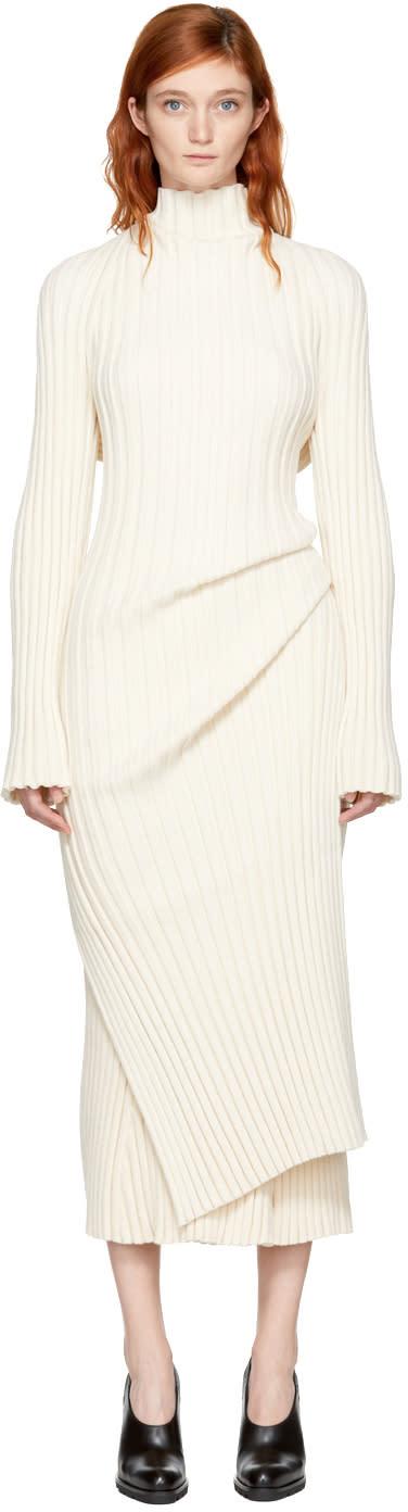 Jil Sander Off-white Ribbed Asymmetric Turtleneck