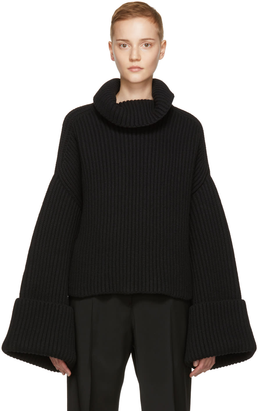 Image of Jil Sander Black Bell Sleeve Turtleneck