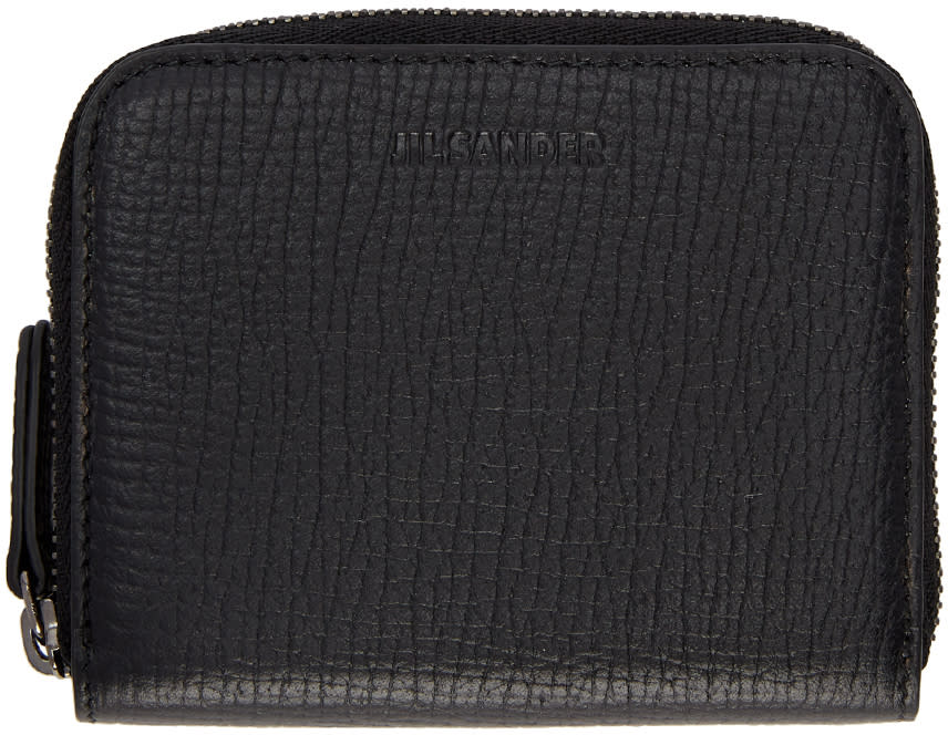 Image of Jil Sander Black Contrast Lining Zip Around Wallet